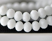 Faceted Rondelle Crystal Glass Beads 9x12mm Opaque White - BZ1203 /70pcs
