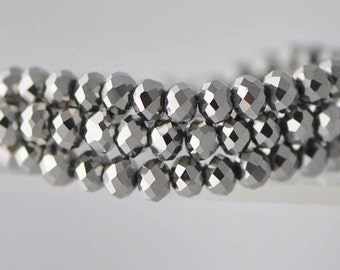 95pcs Silver Rondelle Glass Beads 4x6mm Faceted Crystal -(BZ06-62)