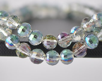 10mm Round Crystal Glass Beads Faceted Green Rose -(96QZ10-6)/ 70pcs