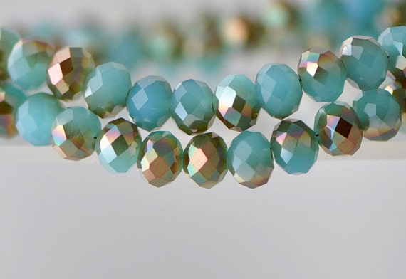 70Pcs Faceted Rondelle Crystal Glass Beads  Blue Copper 6x8mm-BZ0828