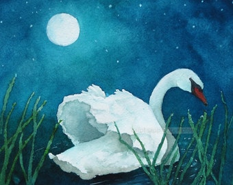 "moonlight swan watercolor giclee print 8"" x 10"""