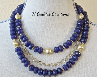 Triple Strand Purple Jade Necklace Gold Multi Strand Necklace Purple Gemstone Statement Necklace