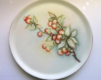 "Mid Century Round Platter Porcelain Hand Painted Cherries 13""//Vintage Home Entertaining/ Shabby Chic/Vintage Dining/Vintage Serveware"