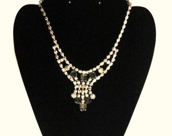 Vintage Rhinestone Diamond Choker Necklace w/ 6 Jade Green Stones/ Vintage Jewelry/ Hollywood Glamour Rhinestone Necklace/ Hollywood Regency