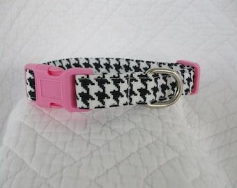 Houndstooth Pink  Dog Collar Custom Made