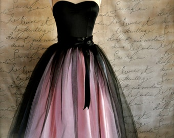 Women's tulle skirt in black and pink. Adult tutu High waisted skirt Ballerina skirt Retro look tulle skirt TutusChic Originals since 2009