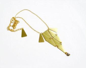 Geometric Statement Necklace - Brass Bib Pendant Necklace - Tiny Armor Collection