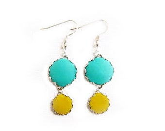 Teal Yellow Dangle Earrings, Handmade Polymer Clay Statement Earrings - Color Dot Collection