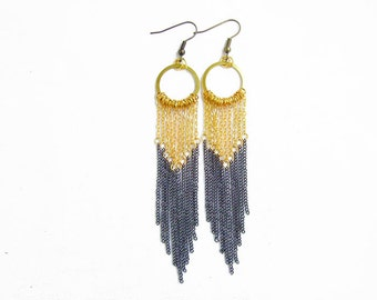 Long Fringe Statement Earrings, Black Gold Earrings, Chevron Chain Handmade Earrings
