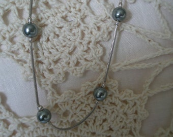Vintage Blue Gray Pearl Bead on Silver Plated Chain Necklace