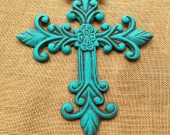 Distressed Teal Cast Iron Wall Decor cross