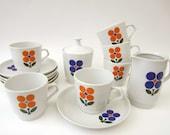 1970s COFFEE SERVICE⎮pop FLOWERS⎮vintage East German porcelain⎮14 pieces set