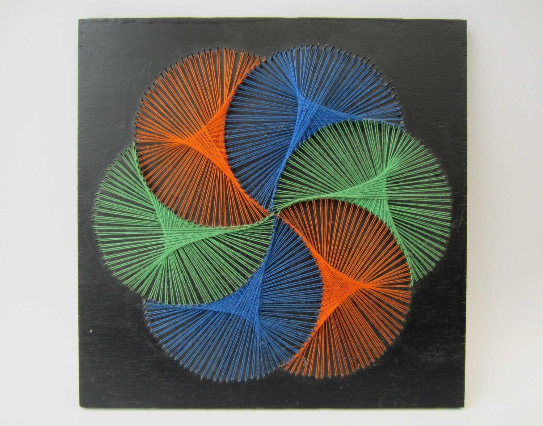 vintage 1970s string artop artstretched tricolor wool yarns. Black Bedroom Furniture Sets. Home Design Ideas