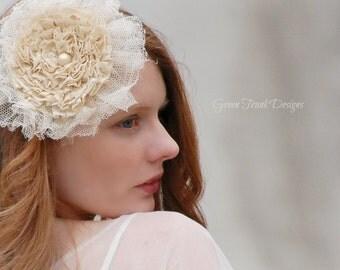Shabby Chic Lace Hair Clip Barrette Rustic Wedding Headpiece Bridal Hair Mori Girl