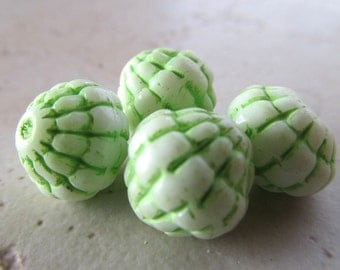 Vintage Lucite Beads 12mm Lime Green Accented White Acorns - 14 Pieces