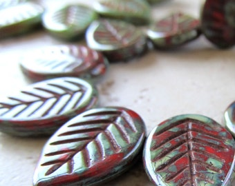 18 x 13mm Ivy Green & Mahogany Red Etched Czech Glass Leaves - 10 Pieces