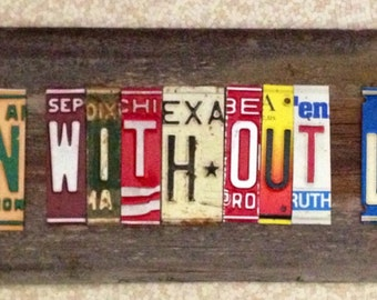 COOKIN WITHOUT LOOKIN ooak upcycled recycled license plate art sign tomboyART chef suis Mozza