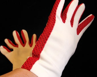 Vintage 60s Mod Van Raalte White with Red Mesh Gloves, Size 6