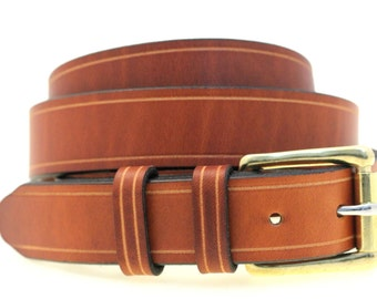 """American Made Men's 1 1/4"""" Light Brown Show Harness Leather Belt With Saddle Groove Double Loops Solid Brass Roller Buckle Nickel-Free"""