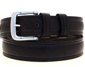 Made In USA Men's 1 1/4' Domed Dark Brown Latigo Leather Belt Double Loops Brushed Nickel Buckle