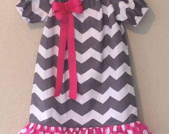 Girls Gray and Pink  Chevron Dress Peasant Style, Toddler girls dress, Gray Chevron  peasant style dress