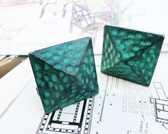Handpainted Cabinet Hardware, verde metal cabinet pulls