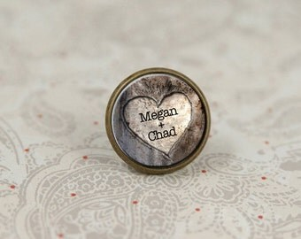 Tie Tack, Rustic Wedding, Heart Tie Tack, Lapel Pin for Groom, Personalized Pin
