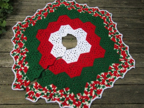 Christmas Tree Skirt Crocheted Granny Hexagons in Red Green and White ...