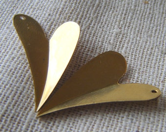 Vintage Raw Brass Abstract Heart Drop left and right (3 pairs) Minimalist