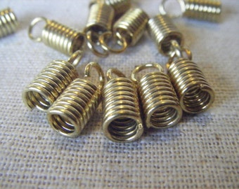 Solid Raw Brass Spring End Cap with Loop (8) Industrial, Steampunk