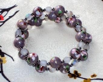 GREYJOY  Cloisonne Beads - Memory Wire Wrap Coil Bracelet