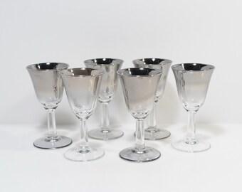 Vintage Glasses Liqueur Cordial Tulip Shape Silver Ombre x 6