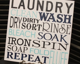 Laundry Subway Sign/Laundry Room Sign/Clean/Wash/Dry/Iron/Spin/Bleach