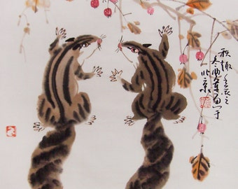squirrel paintings Original  chinese  painting oriental art watercolour-squirrels with fruit No.6