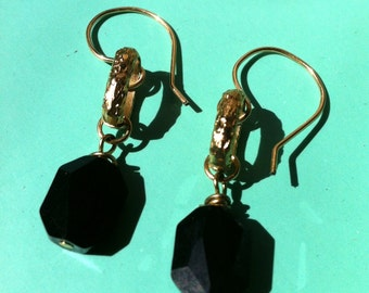 Black and Gold Earrings, Jet Black Crystal Earrings, 24 Kt Gold Overlay Oval Earrings, Dangle Earrings