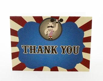 Strong Man Circus Thank You Card - DIGITAL DESIGN