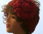 HAT WOMEN KNITTED Half Hat Wide headband Ear warmer  Suede Like Yarn   Large Flower