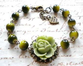 Olive Green Bracelet Flower Bracelet Olive Green Jewelry Khaki Bracelet Green Bridesmaid Bracelet Green Wedding Jewelry