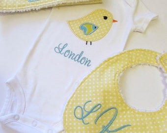 Personalized Bird Bodysuit Set-  Bib and  Burp Cloth Set- Personalized Gift Set- Baby Shower Set- Baby Layette Set