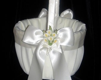 Wedding Flower Girl Basket White or Ivory Calla Lily Lillies