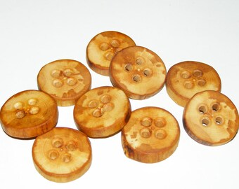 "9 Handmade  apple wood buttons, accessories (1,02"" diameter x 0,20"" thick)"