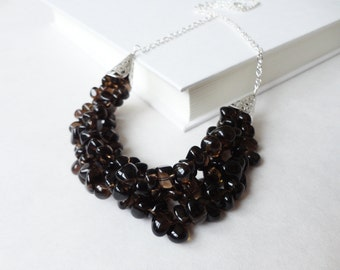 Brown statement necklace smoky quartz bib layered stone necklace ooak