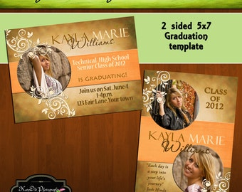 INSTANT DOWNLOAD Brown Grunge Circle Frame  5x7 Senior Graduation Announcement Templates/PSD files