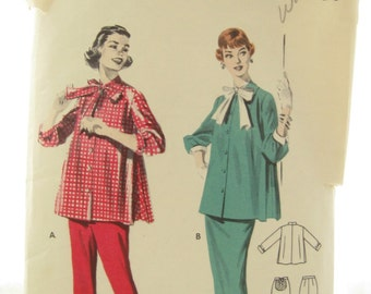 1950s Butterick 7527 Womens Swing Top Skirt and Pants Vintage Sewing Pattern Bust 29 Maternity