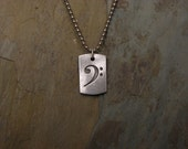 Sterling Bass Clef Dog Tag style pendant