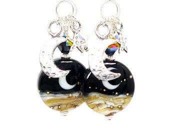 Moon Earrings, Crescent Moon Earrings, Celestial Earrings, Lampwork Earrings, Glass Earrings, Dangle Earrings, Moon and Star Earrings