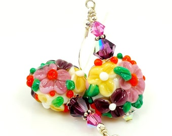 Colorful Floral Earrings, Flower Earrings, Lampwork Earrings, Glass Earrings, Glass Bead Earrings, Beadwork Earrings, Lampwork Jewelry