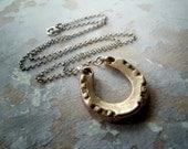 Horseshoe Necklace. Recycled Eco Friendly Handmade Bronze Horseshoe. Equestrian Jewelry