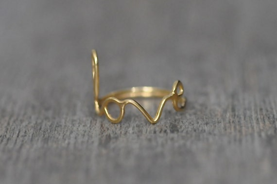 Love Ring - 14 karat Gold Plated Ring, Most Sizes Ready to Ship