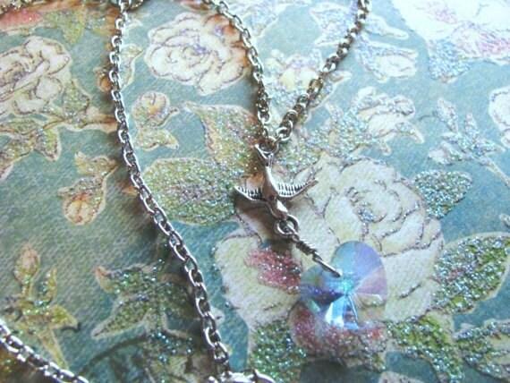 Reserve for Facebook Winner Karen Boyer-Blue Crystal Heart and Sparrow Necklace